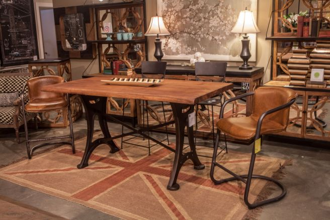 Organic Forge Gathering Table With Portofino Counter Stools