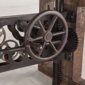 Gears will turn as you crank the table up or down!