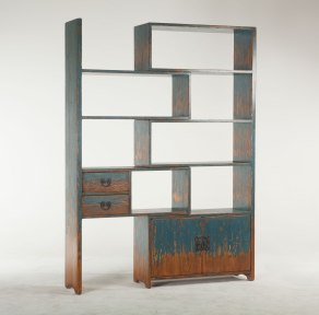 Modular Teak Bookcase with Vintage Finish