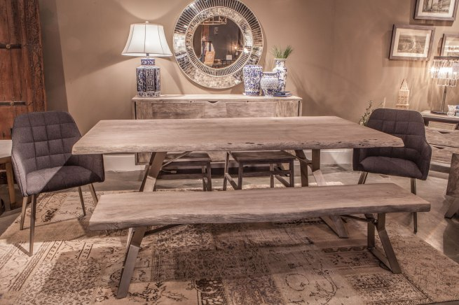 London Loft Weathered Grey Dining Ste with Retro chairs