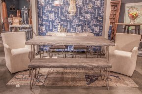 Weathered Grey set with Linen Peabody Chairs