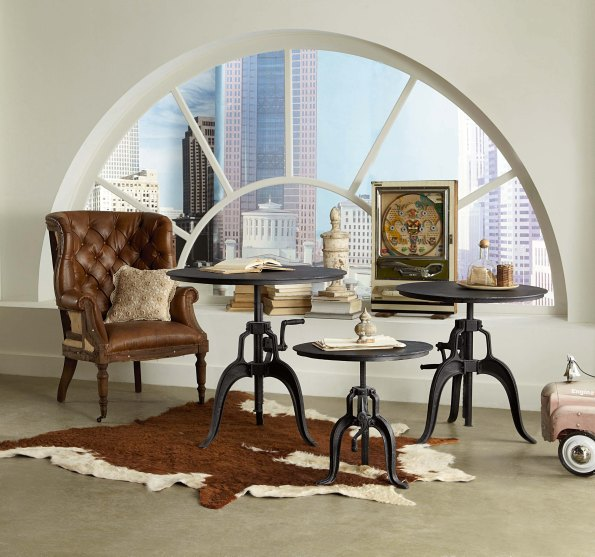 FIL Side Tables with Black Metal Top